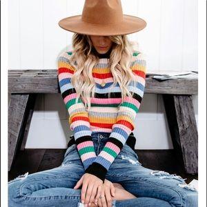 GLENDA Rainbow Stripe Long Sleeve Top